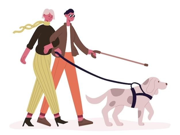 Blindes paar mit blindenhund. behinderter mann und frau, die mit blindenhund, blindem paar und diensttiervektorillustration spazieren gehen. konzept für behinderte menschen. paar blinder mann und frau mit haustier