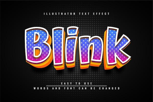 Blink editierbares buntes texteffektdesign 3d