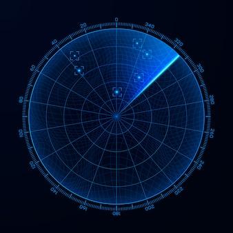 Blip. radar mit hud-schnittstellenelementen. zielerfassung auf dem radarschirm.
