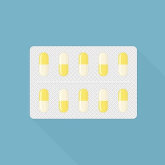 Blister von pillen, kapseln, tabletten. pharmazeutische medikamente zur heilung