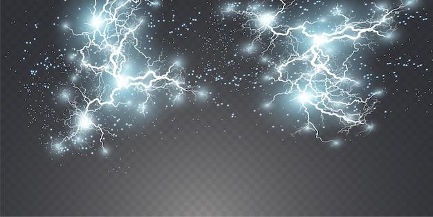 Blitz blitzlicht donner funken auf einem transparenten hintergrund.