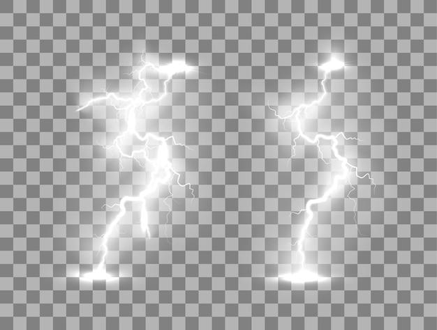 Blitz blitzlicht donner funken auf einem transparenten