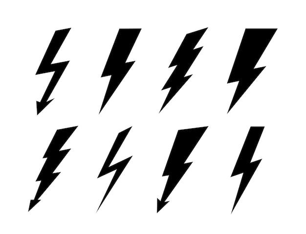 Blitz einstellen. vektor-donnerkeil, blitzschlag-zeichen. Premium Vektoren