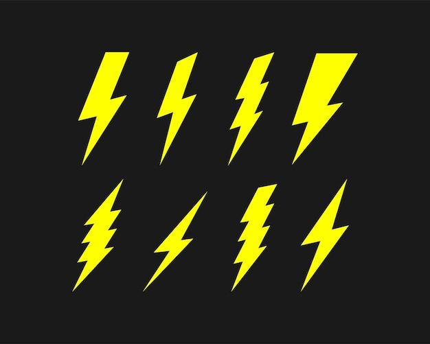Blitz-icon-set auf schwarzem hintergrund isoliert. vektor-eps 10