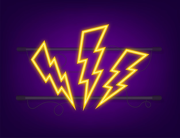 Blitz-neon-set. thunderbolt, blitzschlag-expertise. vektor-illustration.