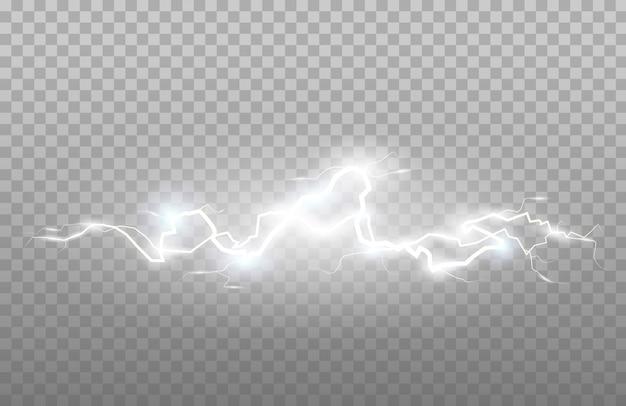 Blitz und donner oder elektrischer, glüh- und funkeleffekt. illustration des energieeffekts. helles licht blitzt und funkelt.