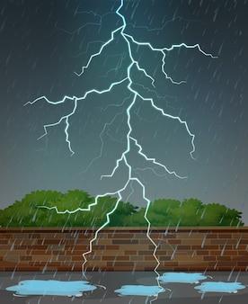 Blitz und regen in der nacht