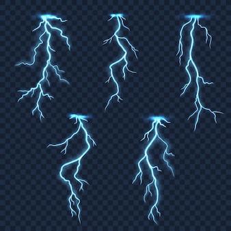 Blitze und gewitterblitze auf transparentem hintergrund
