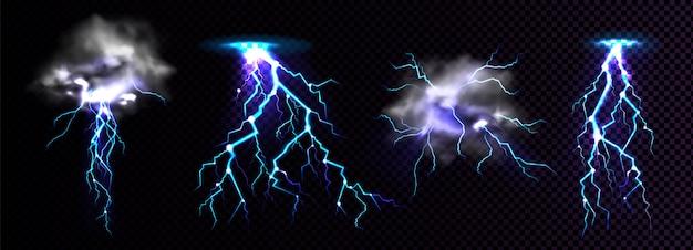 Blitzeinschläge und gewitterwolke treffen auf