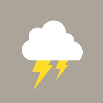 Blitzelement, niedlicher wetterclipartvektor auf grauem hintergrund