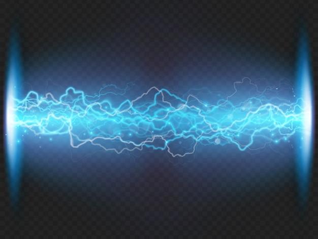 Blitzentladung von elektrizität auf transparentem hintergrund. blauer elektrischer visueller effekt.