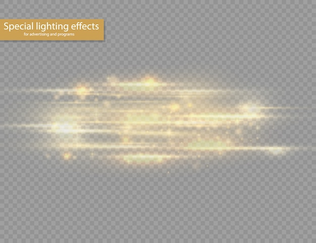 Blitzgelbe horizontale linseneffekte, laserstrahlen, horizontale lichtstrahlen, lichtreflexe, leuchtend weiße linie auf transparentem hintergrund.