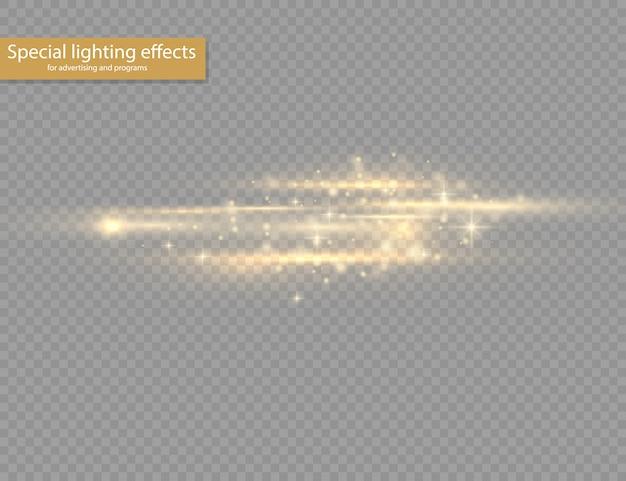 Blitzgelbe horizontale linseneffektpackung, laserstrahlen, horizontale lichtstrahlen, schöne lichtfackel, leuchtend gelbe linie auf transparentem hintergrund, hellgoldene blendung.