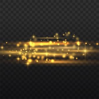 Blitzgelbe horizontale linsenfackelpackung, laserstrahlen, horizontale lichtstrahlen, schöne lichtfackel, leuchtend gelbe linie, hellgoldene blendung, vektorillustration