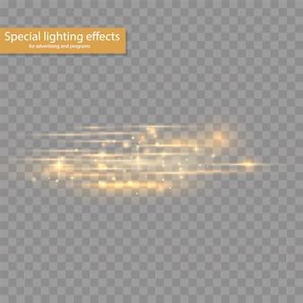Blitzgelbe horizontale linsenfackelpackung, laserstrahlen, horizontale lichtstrahlen, schöne lichtfackel, leuchtend weiße linie auf transparentem hintergrund, hellgoldene blendung, illustration,
