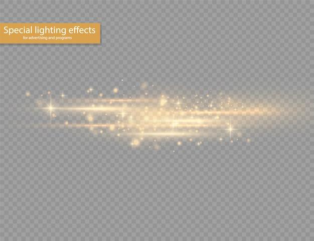 Blitzgelbe horizontale linsenfackelpackung, laserstrahlen, horizontale lichtstrahlen, schöne lichtfackel, leuchtend weiße linie auf transparentem hintergrund, hellgoldene blendung, illustration ,.
