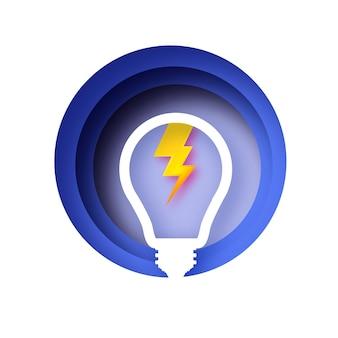 Blitzlampe. glühbirne im papierhandwerksstil. origami glühbirne für kreativität, startup, brainstorming, business. kreis blau geschichteten rahmen. .