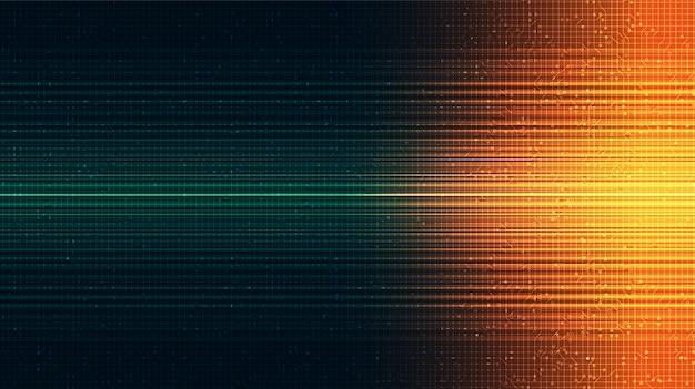 Blitzlicht auf grünem technologie-hintergrund, digitalem und internet-konzept