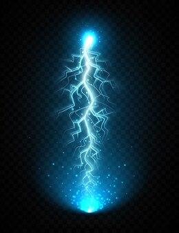 Blitzschlag lokalisiert auf transparentem hintergrund. realistischer elektrischer blitz mit leuchtenden glitzern. blitzschlag, elektrische entladung