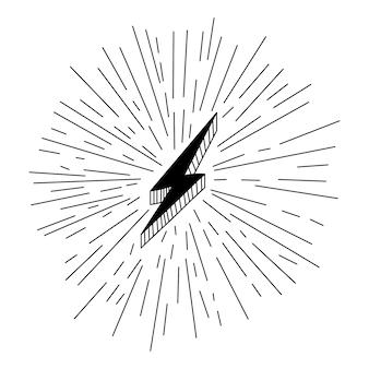 Blitzsymbole für blitz und blitzlicht eingestellt. flacher stil auf dunklem hintergrund. vektor-illustration.