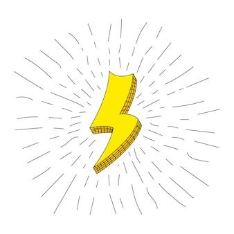 Blitzsymbole für blitz und blitzlicht eingestellt. flacher stil auf weißem hintergrund. vektor.