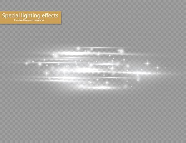 Blitzweiße horizontale linseneffekte, laserstrahlen, horizontale lichtstrahlen, lichtreflexe, leuchtend weiße linie auf transparentem hintergrund.