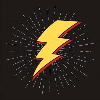 Blitzzeichen mit sunburst-effekt