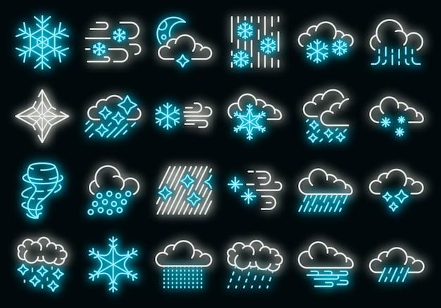 Blizzard-symbole gesetzt. umrisse von schneesturm-vektorsymbolen neonfarbe auf schwarz
