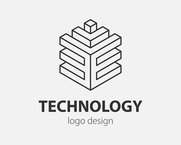 Block logo abstraktes design technologie-kommunikation vektor-vorlage linearen stil. intelligenz-internet-web-logo-konzept-symbol.
