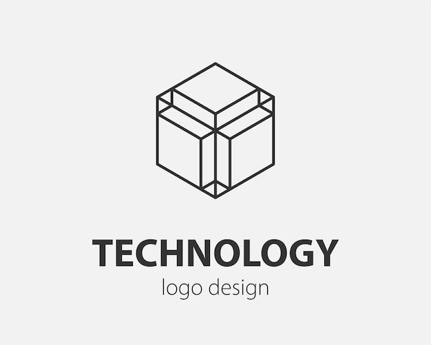 Block logo abstraktes design technologie kommunikation vektor vorlage linearen stil.