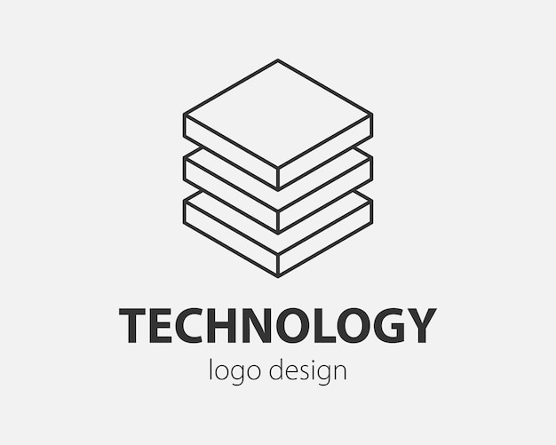 Block logo abstraktes design technologie