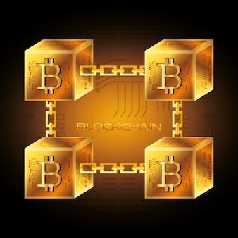 Blockchain-design mit würfeln mit bitcoin-symbol