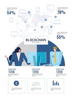 Blockchain infografiken. leute, die computer verwenden, schließen an weltwindgerät an.