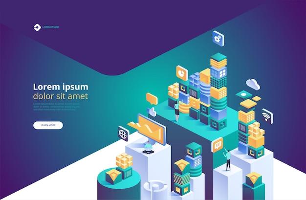 Blockchain-konzept. isometrische digitale blöcke oder würfelverbindung