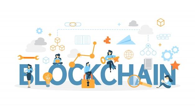 Blockchain-konzeptillustration.