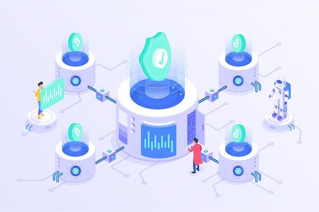 Blockchain-kryptowährung bitcoin mining online server-isometrisches vektor illustartion-design