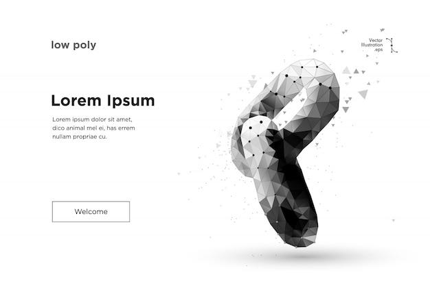 Blockchain-link. polygonale hyperlink-sicherheit für das symbol der internet-technologiekette