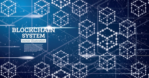 Blockchain neon outline concept auf blauem hintergrund Premium Vektoren
