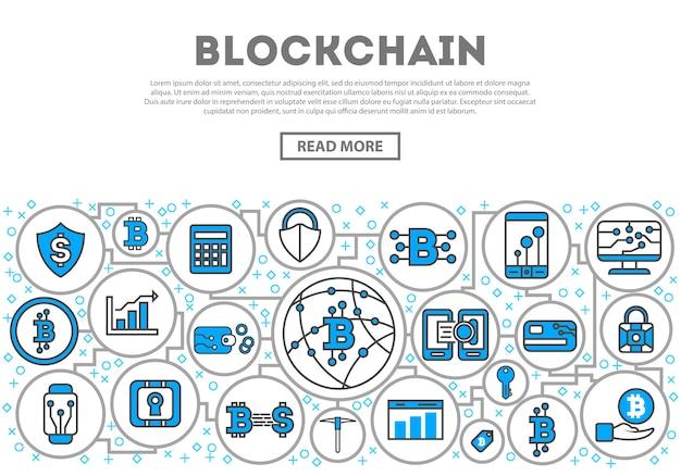 Blockchain netzwerk linearen stil infografiken