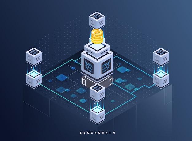 Blockchain-netzwerkgeschäftsschablone. isometrische zusammensetzung von kryptowährung und blockchain. bergbau abstrakte technologie. digitales geldsystem. layout für web und app.