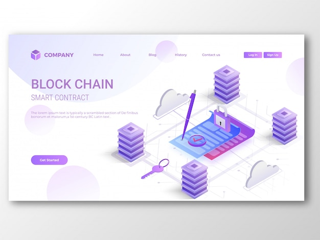 Blockchain smart contract landing page.