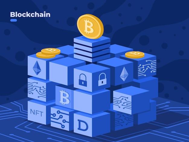 Blockchain-technologie illustrationsvektor mit kryptomünze nft blockchain isometrische illustration digitale kryptowährungstechnologie