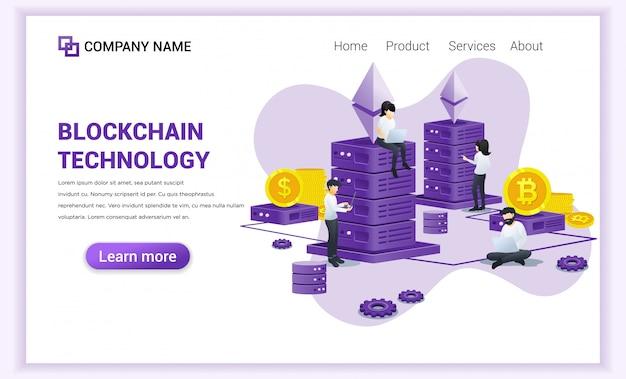 Blockchain technologie mit den leuten, die an laptop und server arbeiten.