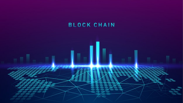 Blockchain-technologie mit global connection concept-test