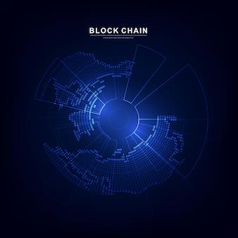 Blockchain-technologie mit globalem verbindungskonzept, geeignet für finanzinvestitionen oder kryptowährungstrends