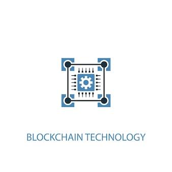 Blockchain-technologiekonzept 2 farbiges symbol. einfache blaue elementillustration. blockchain-technologie-konzept-symbol-design. kann für web- und mobile ui/ux verwendet werden