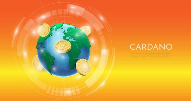 Blockchain-technologiekonzept mit 3d-cardano-münze und welthintergrund. realistische vektorillustration.
