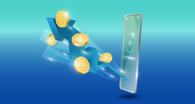 Blockchain-technologiekonzept mit aufwärts gerichtetem blauem pfeil mit cardano-münzenhintergrund. realistische vektorillustration.