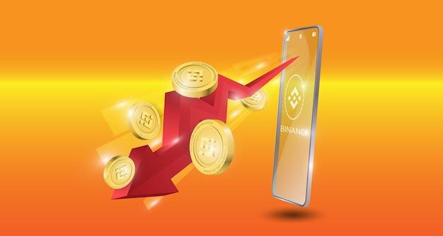 Blockchain-technologiekonzept mit rotem abwärtspfeil mit binance-münzenhintergrund. realistische vektorillustration.