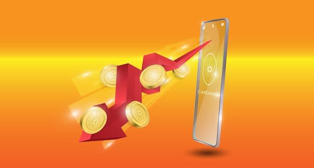 Blockchain-technologiekonzept mit rotem pfeil des abwärtstrends mit cardano-münzenhintergrund. realistische vektorillustration.